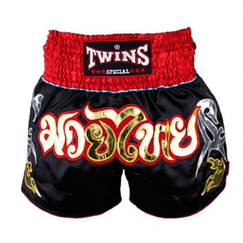 Twins TWS-005 Black/Red Muay Thai Shorts
